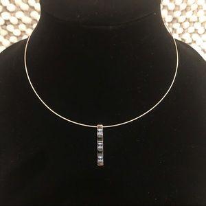 ✨Silver and Blue Rhinestone Delicate Necklace